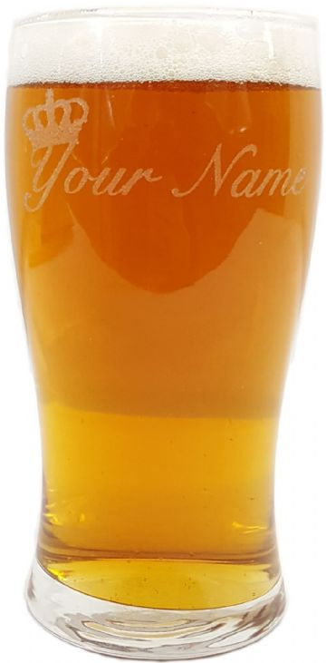 Personalised Engraved Crown Image Pint Glass